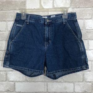 High Rise Slouchy Cargo Utility Style Denim Shorts